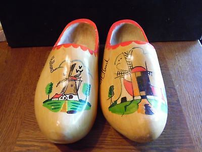 """2 Large Wooden Souvenir Shoes from Holland 13"""" Long Windmill"""
