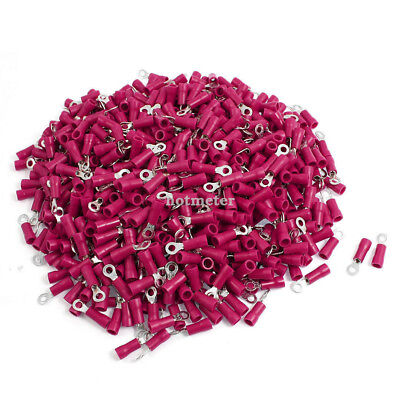 1000 Pcs RV1.25-3.2 A.WG 22-16 Red Sleeve Pre Insulated Ring Terminals Connector