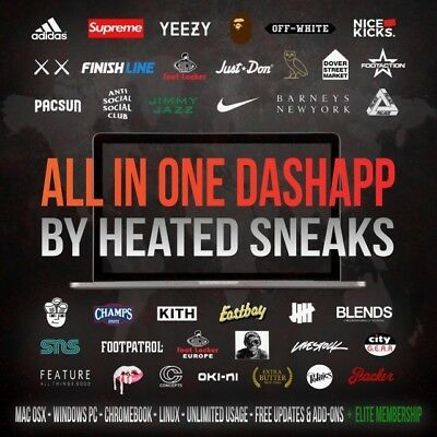 Heated Sneaks AIO DashApp Bot NEWEST VERSION Supreme SS18, Yeezys, Human Race