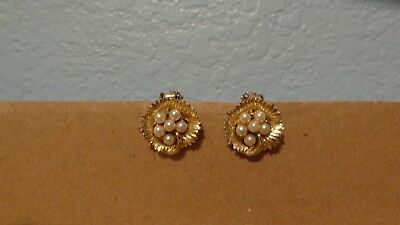 "Faux Pearl Cluster Clip On Earrings Concave Gold Tone Round White  3/4"" Vintage"