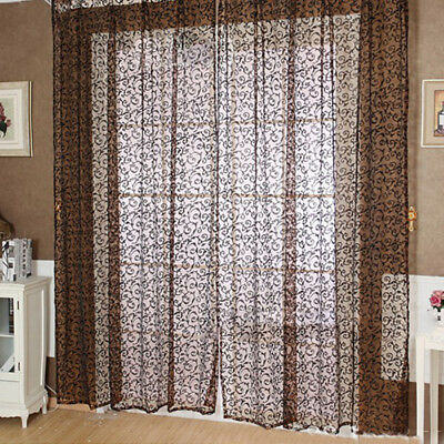 100 x 270cm/200cm Flocking Floral Printed Sheer Wall Room Divider Window Curtain
