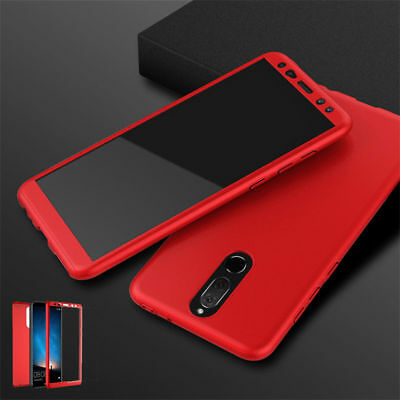 For Huawei Nova 2i /Mate 10 Lite 360° Full Hard Back Cover Case + Tempered Glass