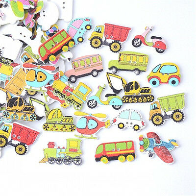 50pcs/lot Mixed Wood Cars And Air Sewing Children Buttons Scrapbook Crafts diy