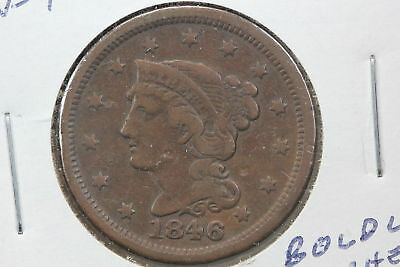 1846 Large Cent F N-4 Repunched Date Mint Error