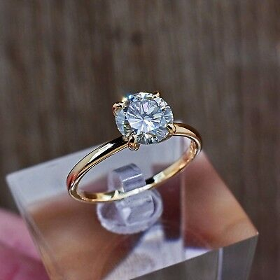 2Ct Round-Cut D/VVS1 Diamond Solitaire Engagement Ring Real 10k Yellow Gold