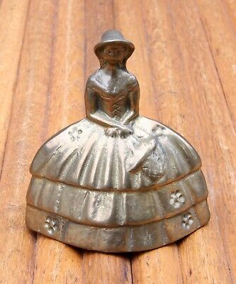 Vintage Victorian Style Dressed Lady Figurine Solid Cast Brass Bell NICE!!!