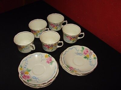 Vintage Foley China 5 Cups & Saucers