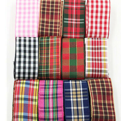 "1"" 25 mm 10Y Coffee Color Tartan Plaid Ribbon Bows Appliques Sewing Crafts"