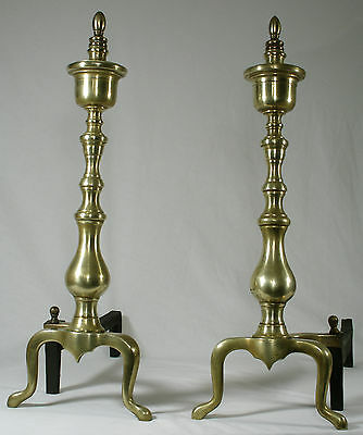 Vintage Solid Brass Candlestick Andirons brass and iron firedogs