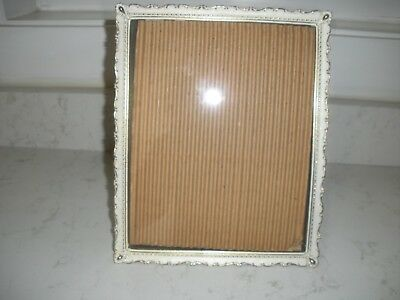 vintage ornate metal gold white picture frame easel or wall mount STUNNING