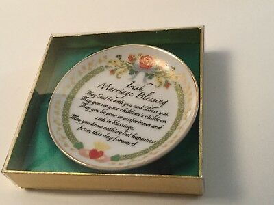 """Irish Marriage Blessing Plate 3.75"""" Made In Ireland IN BOX with Display Stand"""