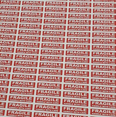 500 x FRAGILE HANDLE WITH CARE Labels Stickers 38mm long x 10mm VAT Included