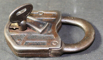 Antique Vintage Unusual Geometric Pattern Cast Iron Pad Lock Padlock & Key