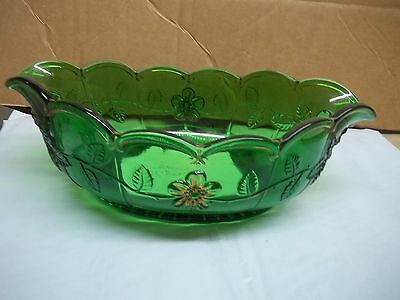 Old Green & Gold Glass Northwood Gold Rose Pattern Console Fruit Bowl