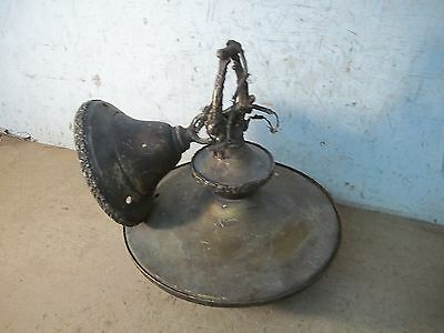 Rustic Old Metal Hanging Electric Ceiling Light Fixture with Canopy