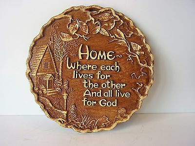 "Vintage ""HOME"" Faux Wood Wall Plaque"