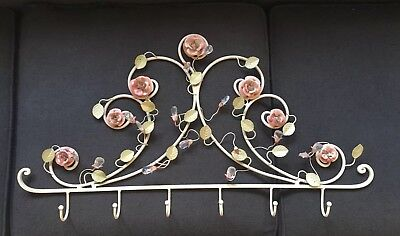SHABBY CHIC Large METAL COAT RACK WALL Hook FRENCH VINTAGE FLORAL CREAM Pastel