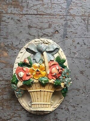 Hubley #616 Flower Basket Door Knocker 1930's Shabby Chic Floral