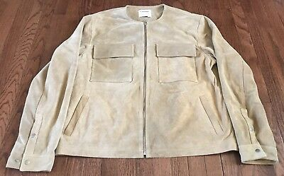 Urban Outfitters UO Men's Suede Leather Bomber Jacket, Beige, Size XL, New