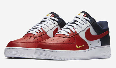 Nike Air Force One 1 07 LV8 4th of July Size 8-12 Red White Blue Gold 823511-601