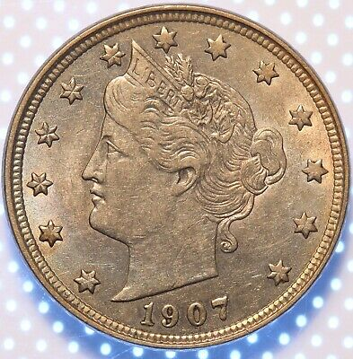 1907 Liberty Nickel, Almost Uncirculated With Natural Toning, Problem Free Coin!