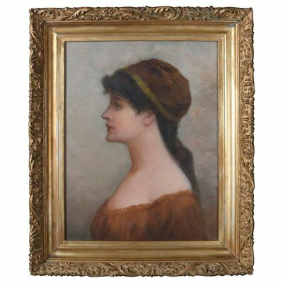 Antique Oil on Board Portrait Painting of Maiden Signed H.P. Giles, 19th Century