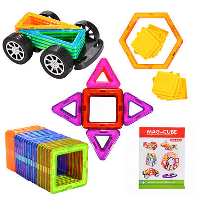 US 70Pcs Magnetic Building Blocks Construction Set Educational Toy Car Wheel Set