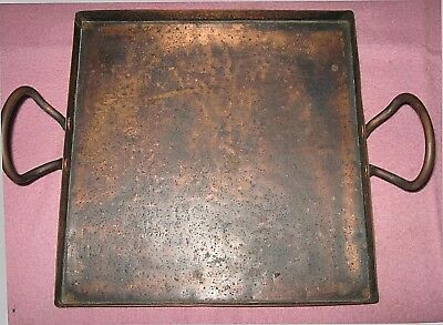 Vintage Square Copper Tray Handles Heavyweight Textured Aged Antique Patina Old