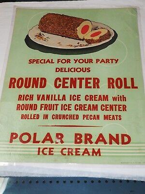 "POLAR BRAND ICE CREAM ROUND CENTER ROLL POSTER 1940-1960 11"" x 14"""