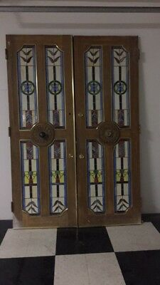 Vintage stain glass doors