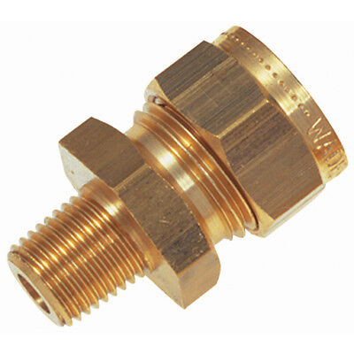 "Wade Brass Compression Fittings - 3/16""od X 1/8"" Bspt Male Stud Coupling 9-00625"