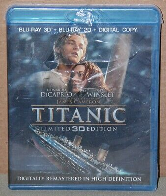 Titanic Limited Edition 3D (Blu-ray 3D/2D, DVD, Digital) Brand New, Torn Shrink