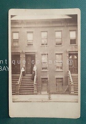 1800s antique CITY HOUSES PEOPLE CABINET PHOTO ny S. MARKSVILLE architecture