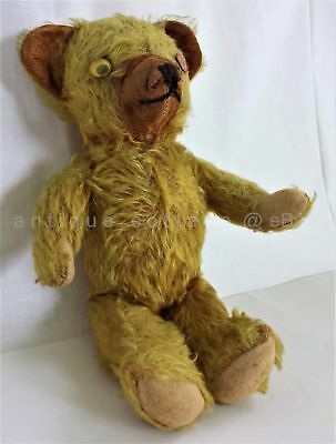 antique Teddy Bear Mohair jointed Stitched Nose Glass diff color eyes Steiff?