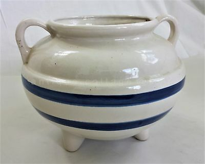 vintage blue white POT PLANTER RRP Co Pottery Roseville Oh footed yellow ware