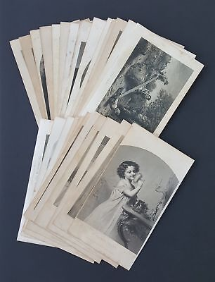 LOT 1800s antique 25pc CHILDREN young ADULT ENGRAVINGS art victorian fashion