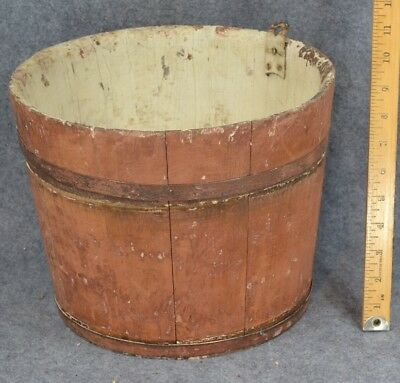 bucket red paint wood sap New England NH hand made primitive antique original