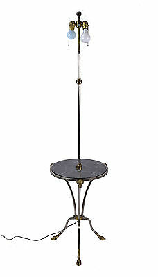 Chapman Nickel and Brass Rams Head Paw Foot Floor Lamp W Marble Tray Table