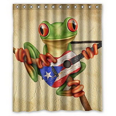 TREE FROG PLAYING Puerto Rico Flag Guitar Shower Curtain 66 * 72 ...