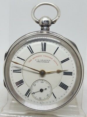 Chunky Antique solid silver gents J.G. Graves SHEFFIELD pocket watch 1899