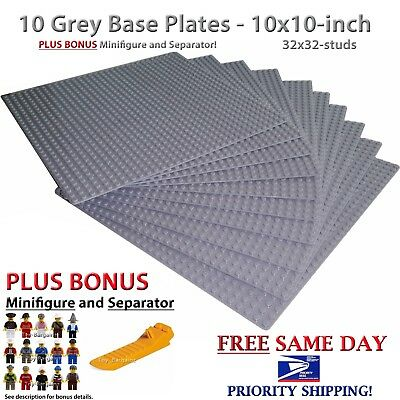 "BONUS Minifig & Separator +10 Grey 10x10"" Base plates compatible with LEGO 32x32"