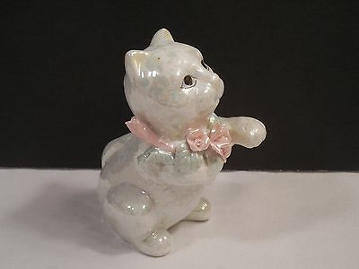 "White Opal Iridescent Porcelain Cat With Pink Flowers Figurine ~ 4"" Tall"