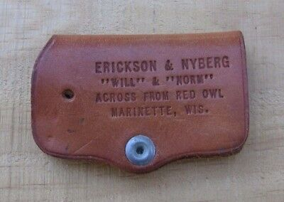 Erickson Nyberg Phillips 66 Gas Leather Keychain Holder~Marinette Wi~Red Owl