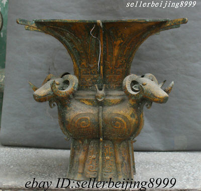 Old Chinese Dynasty Bronze Gilt Square Zun with Four Sheep Bottle Pot Vase Jar