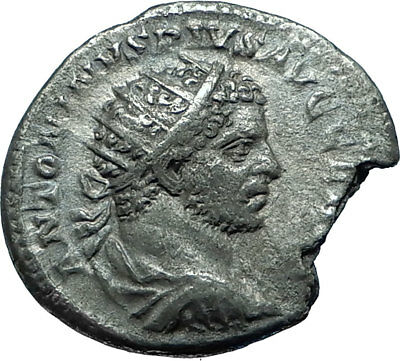 CARACALLA Genuine 215AD Rome Authentic Ancient Silver Roman Coin SERAPIS i66106