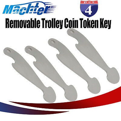 MACHTER W/O Coin Shopping Cart Trolley Token Key Retractable Coles Woolies 4PCS