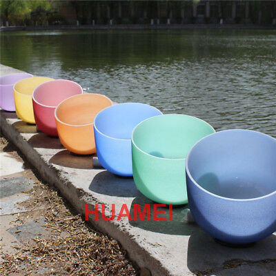 Chakra Tuned Set of 7 Pcs Outside Color Frosted Crystal Singing Bowl 8''-14''
