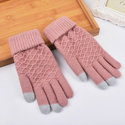 1Pair HOT Touch Screen Gloves Women Girl Stretch Knit Mittens Winter Warm Gloves