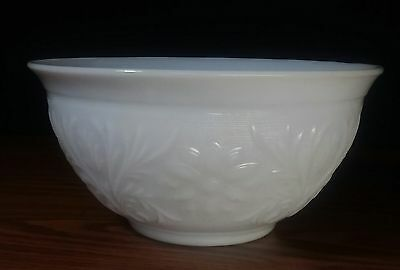 Antique Atlas White Milk Glass Punch Mixing Bowl  excellent details Large 10""