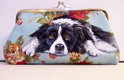 hand painted Border Collie canvas coin purse eyeglass case or makeup bag